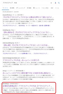 「アクセスアップ 方法」で検索上位化に成功した事例